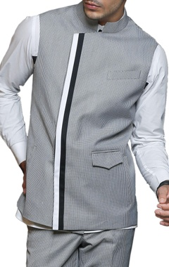 grey & white printed nehru jacket