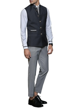 black & white safari nehru jacket