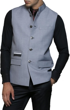 light grey buttoned nehru jacket
