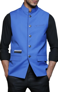 electric blue safari nehru jacket