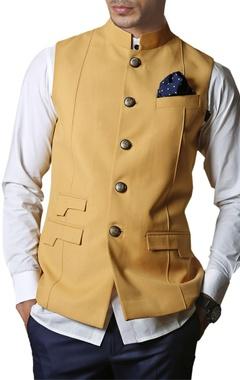 Mustard yellow safari nehru jacket