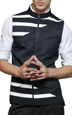 Black & white striped nehru jacket