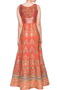 orange & red shaded embroidered anarkali & dupatta