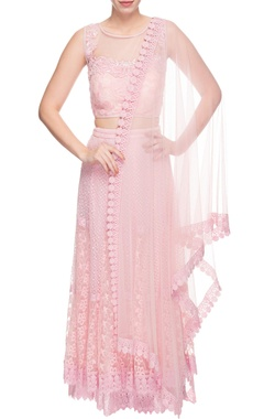 blush pink chikankari lehenga set
