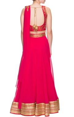 Scarlet red embroidered lehenga set