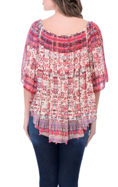pink printed pleated top with tassels