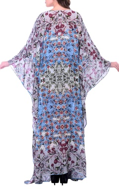 Grey printed kaftan dress with embroidery