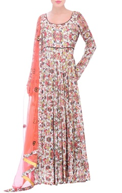 White anarkali with multi-colored floral print