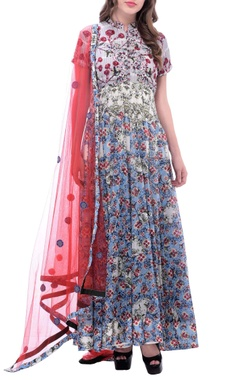 White anarkali with multi-colored blossom print & embroidery