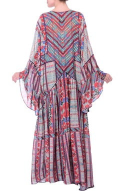 Grey kaftan printed maxi dress with bell sleeves.