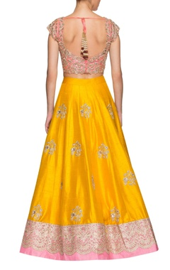 mango yellow & rose pink floral embroidered lehenga set