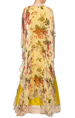 Light yellow printed kaftan with mustard embroidered lehenga