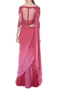 pink & red embroidered sari gown