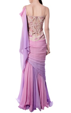 light pink & purple embroidered & draped gown