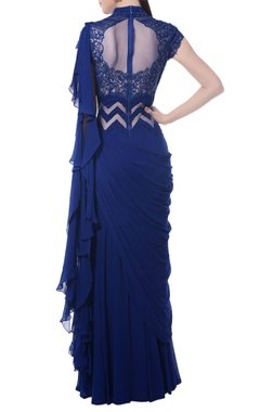 Indigo blue embroidered draped gown