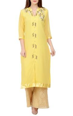 Yellow & beige embroidered kurta set