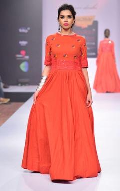 Orange mirror & thread embroidered dress