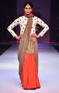 Grey & orange mirror work sari