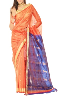 orange & blue motif chanderi silk sari
