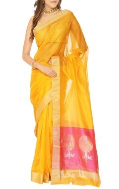 yellow & pink floral motif chanderi silk sari