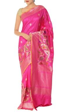 Pink & gold leaf motif banarasi silk sari