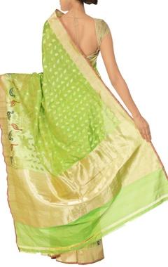Lime green & gold peacock motif banarasi silk sari