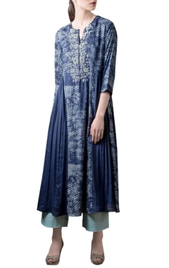 navy blue printed & gathered kurta set