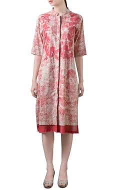 Coral red & beige printed tunic