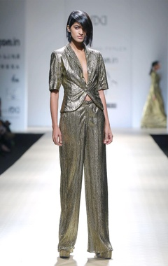metallic copper textured suit