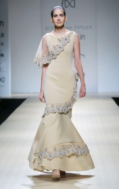 beige crystal-embellished flared  gown