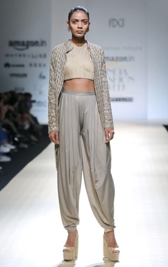 metallic silver textured draped pants