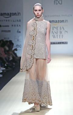 Beige embellished kurta set