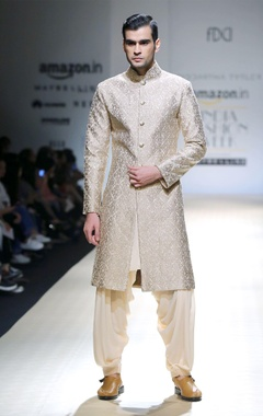 Ivory embroidered sherwani & kurta set