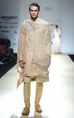 Beige embroidered sherwani set