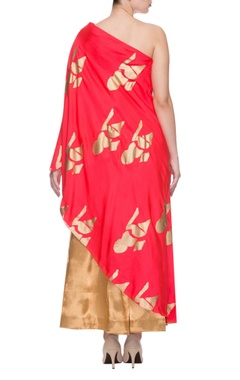 Red one shoulder printed tunic