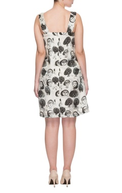 Black & white caricature print dress