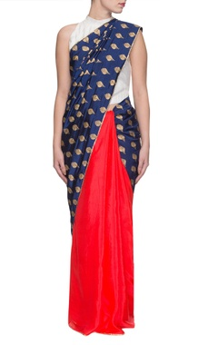 Red & blue shankh print sari