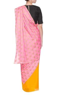 Yellow & pink shankh print sari