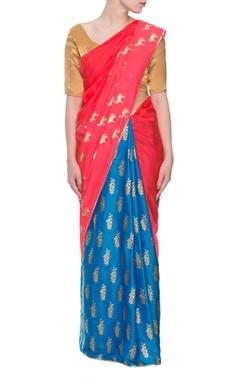 Red & blue horse print sari