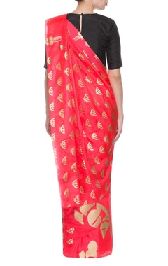 Red sari with golden multi prints