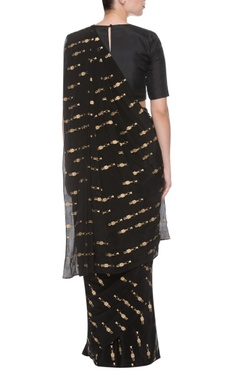 Black & gold tribal print sari