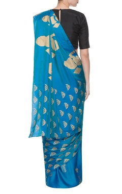 Blue sari with multiple print patterns