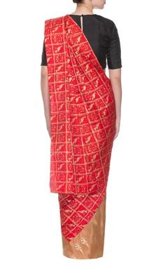 Beige &  red parrot print sari