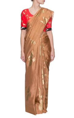 Beige golden multi print sari