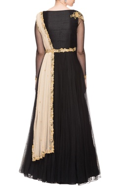 Black floral embroidered anarkali with attached dupatta