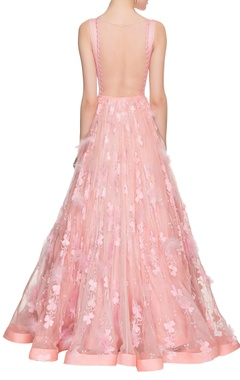 Baby pink embroidered gown with sequins & feathers