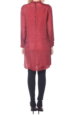 Burgundy floral collared tunic