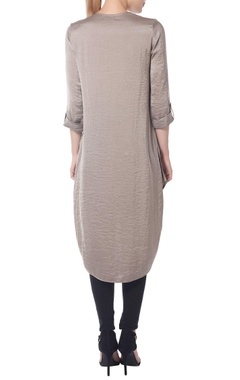 Grey high-low tunic with fern embroidery
