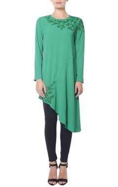 Sea green asymmetrical sequined tunic