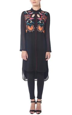 Black high-low kalamkari tunic